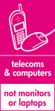 Telecoms & Computers (not monitors or laptops) signage - phone & mouse icon (portrait)