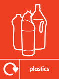 Plastics signage - bottles icon with logo (portrait)