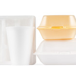 Polystyrene takeaway food packaging and cup