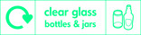 Clear glass signage - bottles & jars icon with logo (landscape)