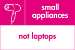 Small appliances (not laptops) signage - hairdryer icon (landscape)