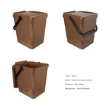 Brown food waste kerbside container - show unlocked and locked