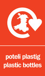 Plastic Bottles signage - logo (portrait, Welsh-English)