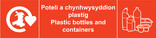 Plastic Bottles and Containers signage - logo (landscape, Welsh-English)