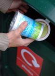 Putting plastic pots into bring bank
