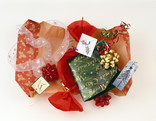 Assorted Christmas gift wrap - paper, ribbons, tags