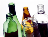 Assorted glass bottles and jars - close up