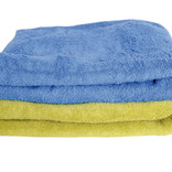 Blue and green folded towels
