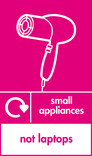 Small appliances (not laptops) signage - hairdryer icon with logo (portrait)
