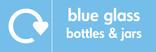 Blue glass signage - logo (landscape)