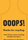 Recycle Now Contamination amber bin/box tag