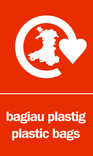 Plastic bags signage - carrier bag icon (portrait) - bilingual (Welsh-English)