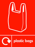 Plastic bags signage - carrier bag icon with logo (portrait)