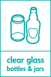 Clear glass signage - bottles & jars icon (portrait)