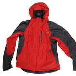 Red and blue waterproof coat