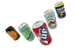 Five metal drinks cans