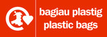 Plastic bags signage - carrier bag icon (landscape) - bilingual (Welsh-English)