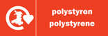 Polystyrene signage - Material stream icon and Recycle for Wales logo (Welsh-English)