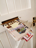 Mail in letterbox of white door
