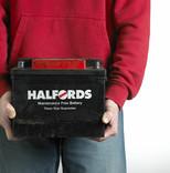 Man holding Halfords maintenance free car battery