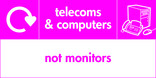Telecoms & Computers signage - computer & fax icon with logo (landscape)