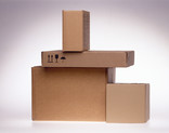 Stack of plain corrugated cardboard boxes