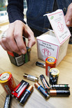 Household battery collection box for recycling batteries at home