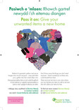 Pass it On Reuse Poster - Textiles & Clothing heart - Bilingual (Welsh-English)