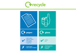 Paper and Glass multi-material recycling bin sticker
