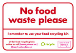 No food waste please - residual bin sticker. Please ensure you purchase higher quality stickers that are UV resistant to prevent fading.