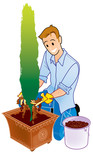 Man and planting tree in pot
