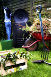 Garden or allotment scene - woman, wheelbarrow, compost bin, vegetables, garden trimmings