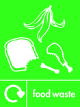 Food waste icon - image,text and logo (portrait)