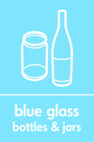 Blue glass signage - bottles & jars icon (portrait)