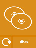 Discs signage - CDs icon with logo (portrait)