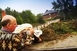 Man recycling garden waste