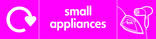 Small Appliances signage - iron & hairdryer icon with logo (landscape)