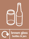 Brown glass signage - bottles & jars icon with logo (portrait)