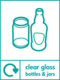 Clear glass signage - bottles & jars icon with logo (portrait)