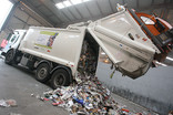 Recycling lorry unloading at Materials Recycling Facility