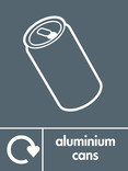 Aluminium cans signage - can icon with logo (portrait)