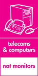 Telecoms & Computers signage - computer & fax icon (portrait)