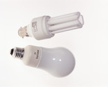 2 light bulbs - standard and energy saving