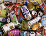Assorted drinks cans and food tins