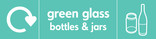 Green glass signage - bottles & jars icon with logo (landscape)