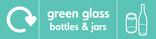 Green glass signage - bottles & jars icon with logo (landscape)