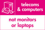 Telecoms & Computers (not monitors or laptops) signage - computer & fax icon (landscape)