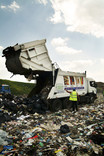 Lorry unloading at landfill site