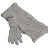 Women's blue woollen gloves and scarf