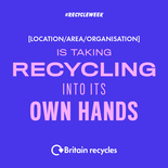 Taking recycling into its own hands social media asset in blue. Embargoed until 23 September 2019